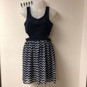 Paper Crane Blue & White Cut Out Sleeveless Dress